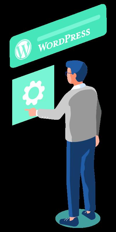 Man performing WordPress Design Gilbert pressing a big gear configuration icon.