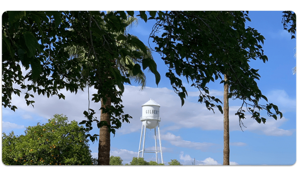 WordPress Design Gilbert Water Tower featured prominently at the top looking through trees.
